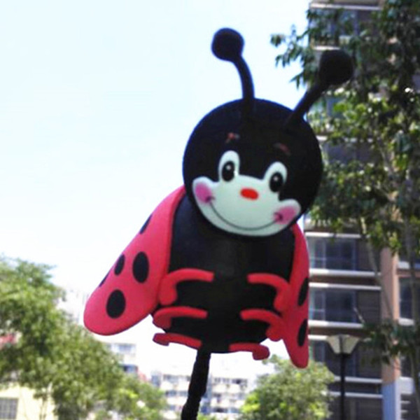Glaring Black Ladybird Antenna Balls Car Aerial Ball Antenna